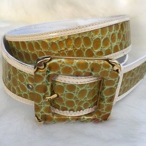 Escada White Leather Reptile Animal Print Belt